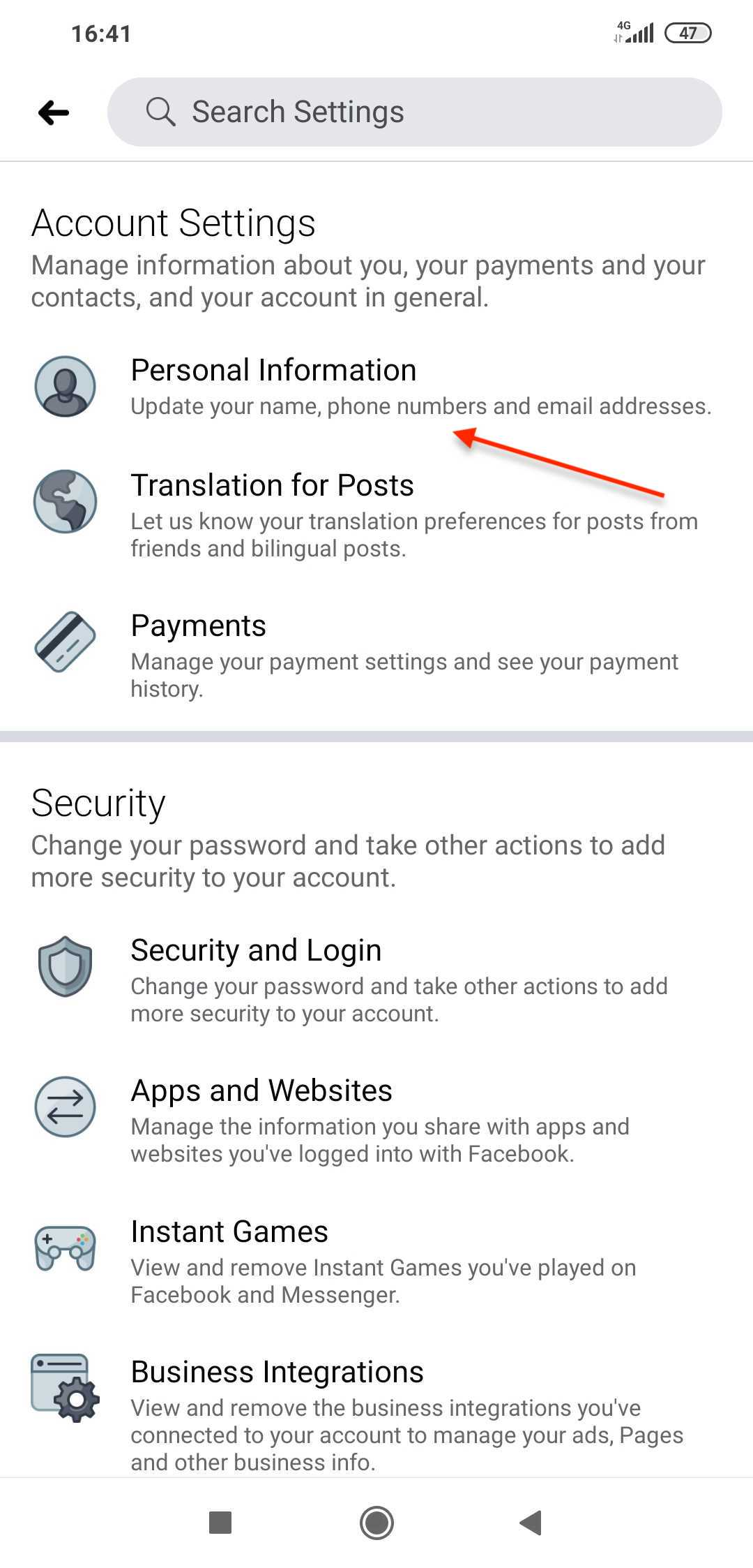 Facebook mobile personal info