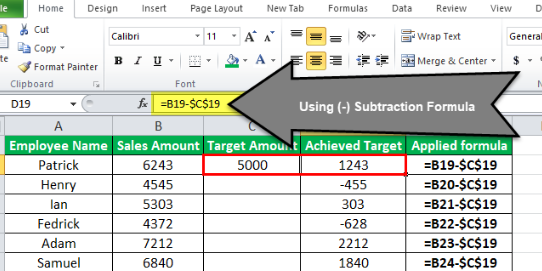 Subtract In Spread Sheet