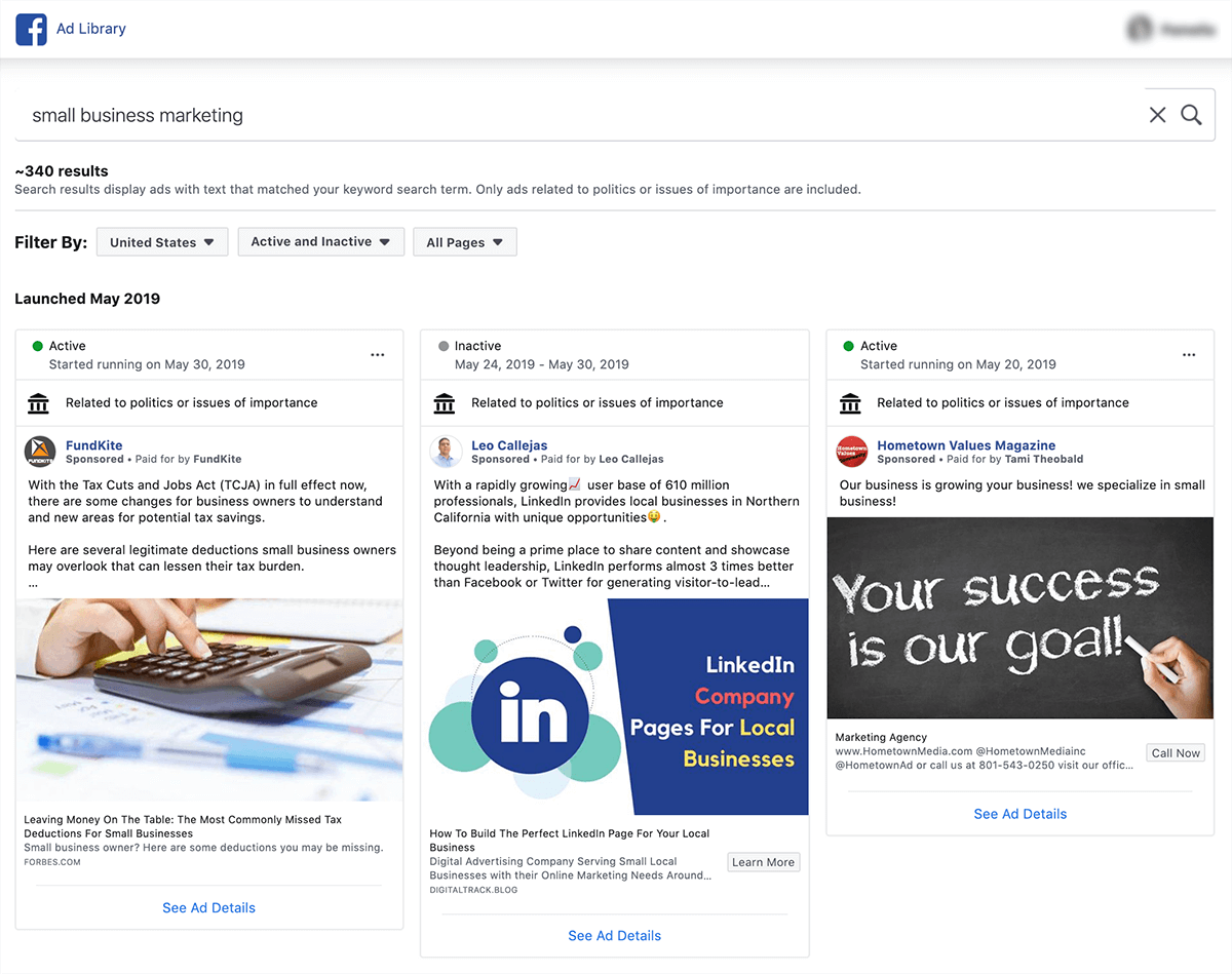 Facebook Ads Library Example | Whatagraph Blog