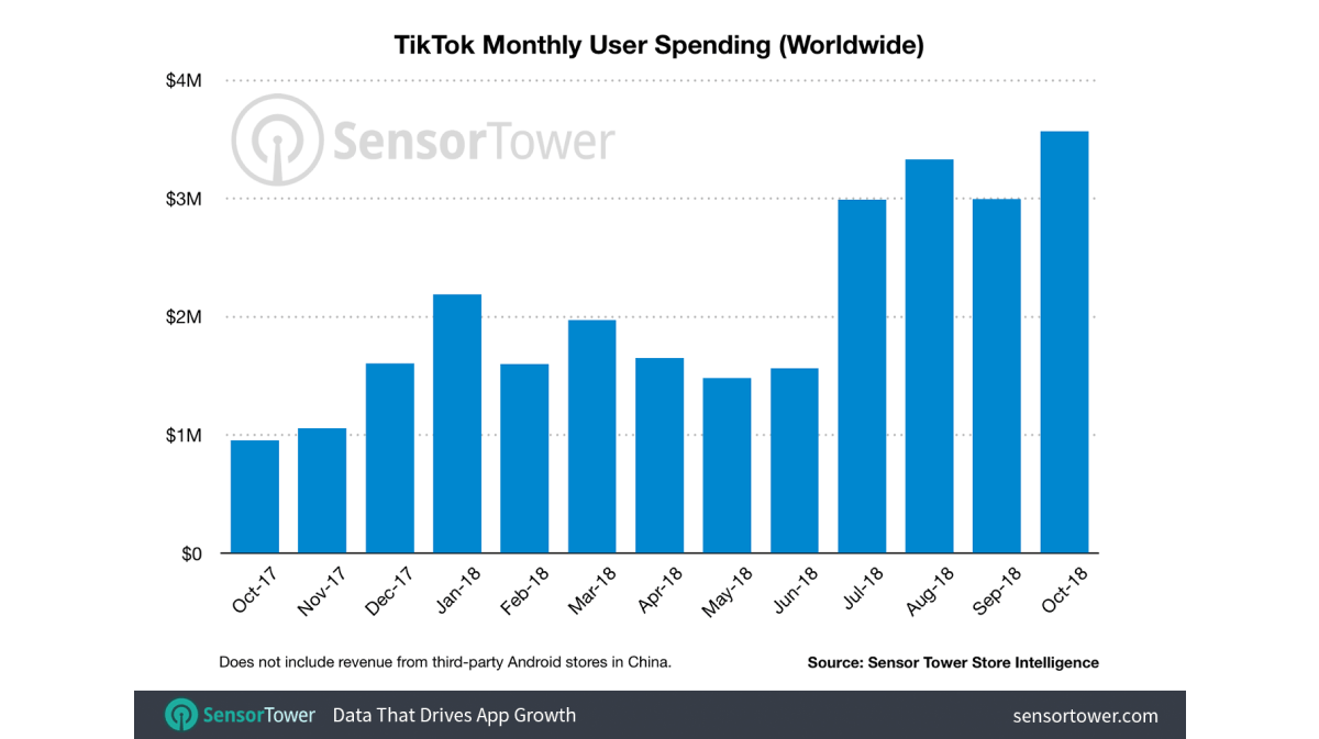 TikTok monthly spending