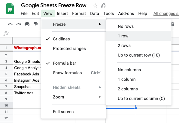 Freeze Rows in Google Sheets Menu Option