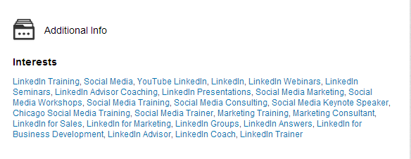 Example of how looks interests on Linkedin