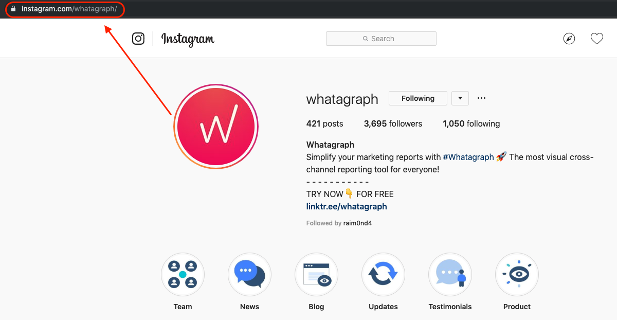 whatagraph instagram URL