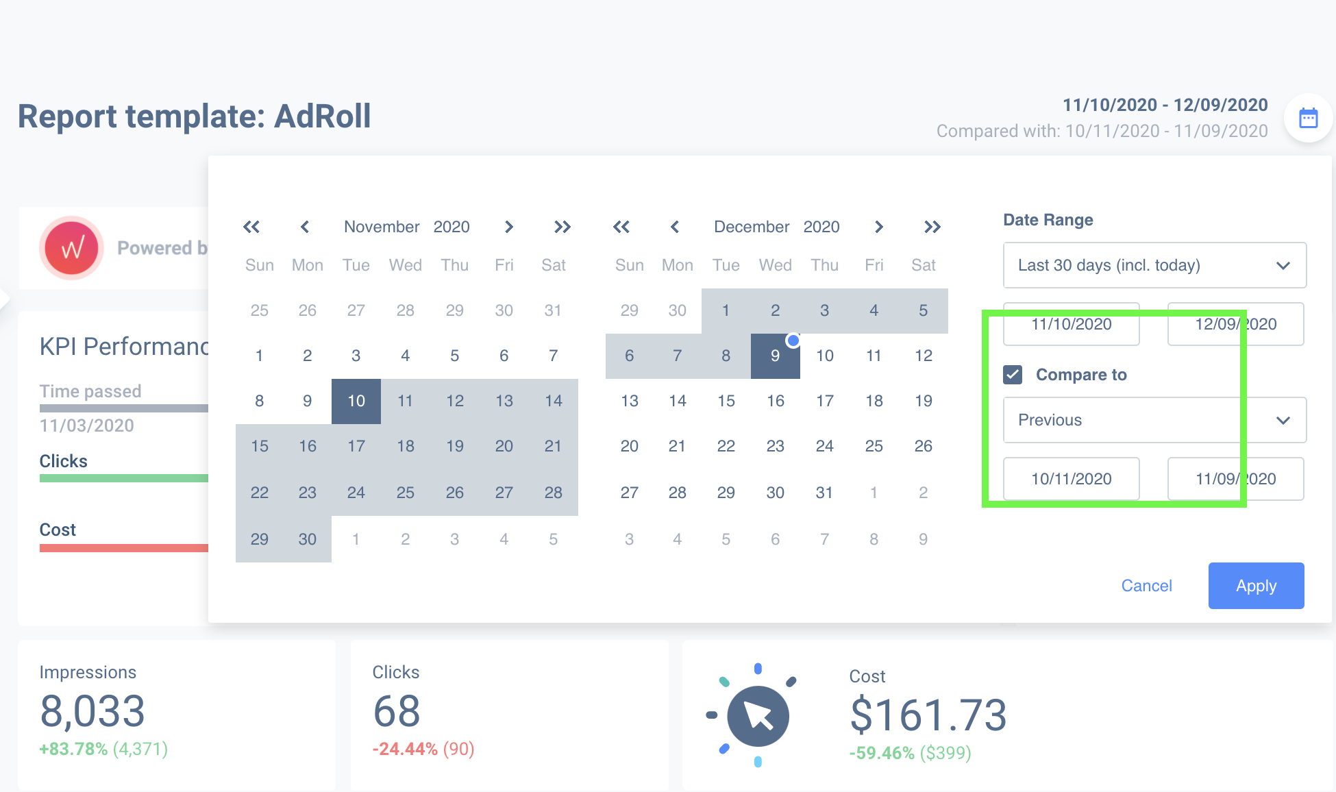 Compare data with different dates on your Adroll campaign dashboards.