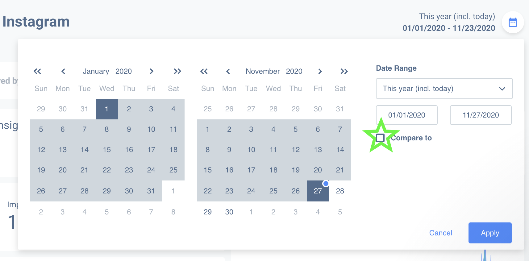 Compare date ranges on your custom Instagram Insights report.