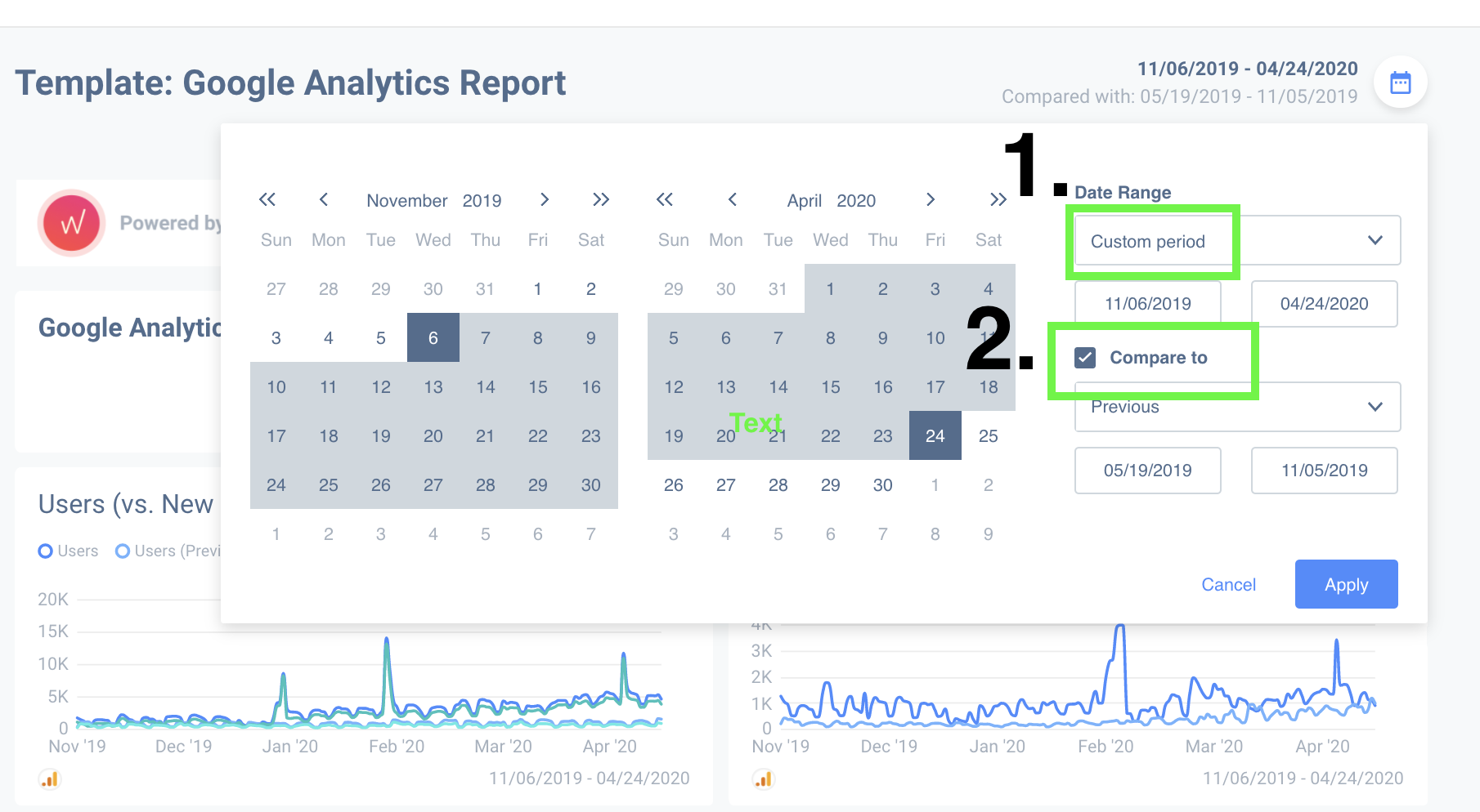 You can compare different date ranges with custom Google Analytics reports.