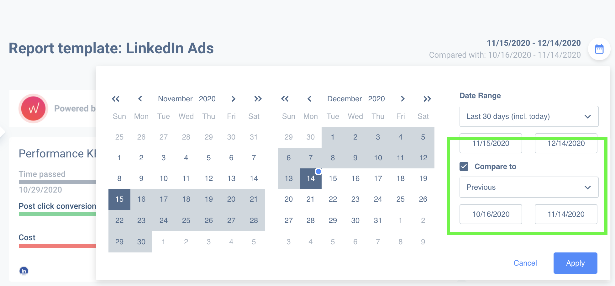Compare performance metrics of your LinkedIn ads with different dates.