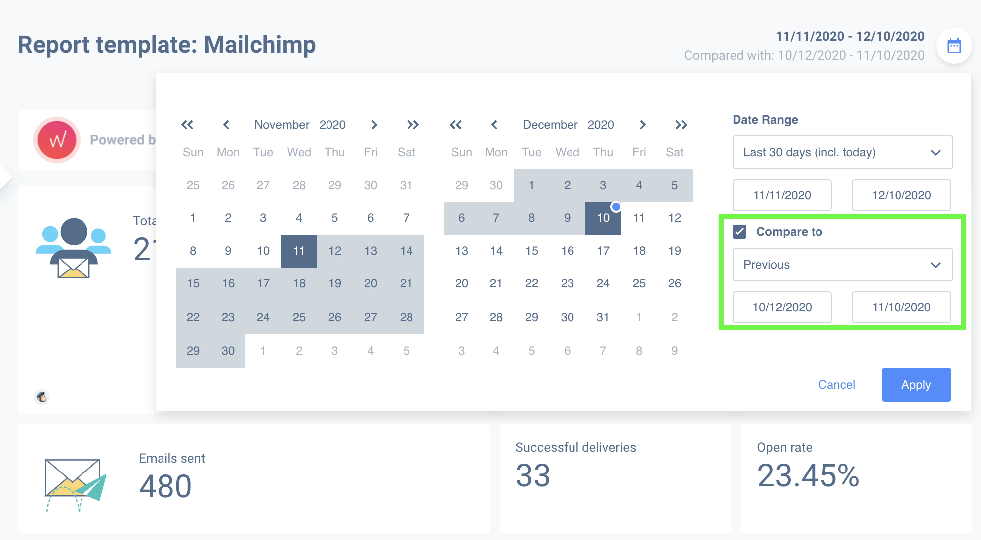 Compare data of different dates with your Mailchimp campaign reports.